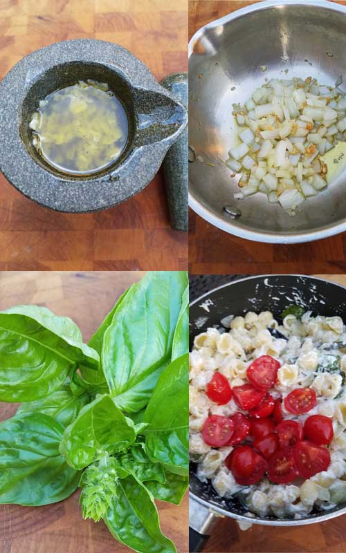 Fresh tomato and basil come together with a few other ingredients to make a simple pasta salad with a huge depth of flavor.