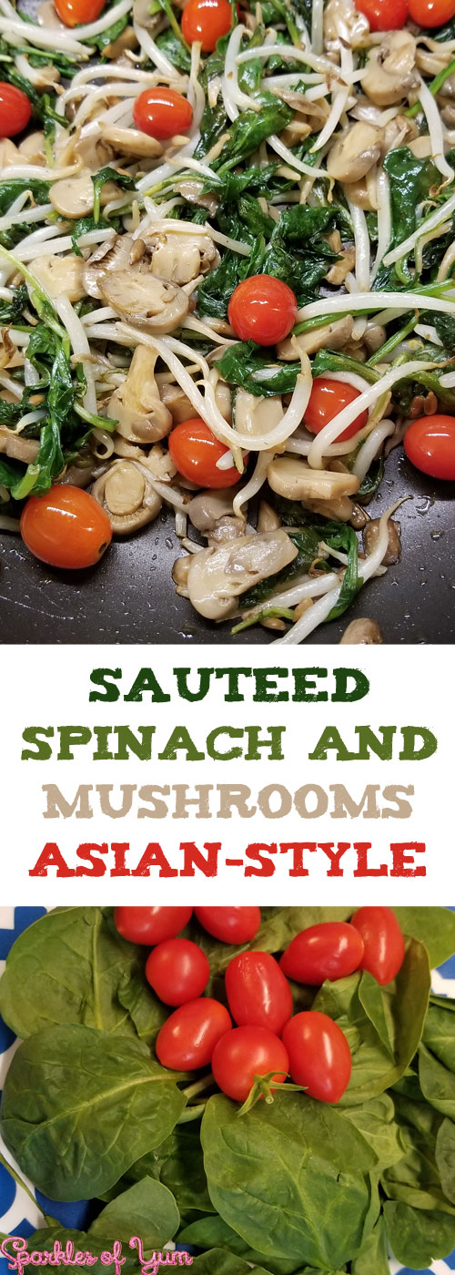 Quick, easy, healthy and yummy! You can't go wrong with this sauteed spinach and mushrooms Asian-style.