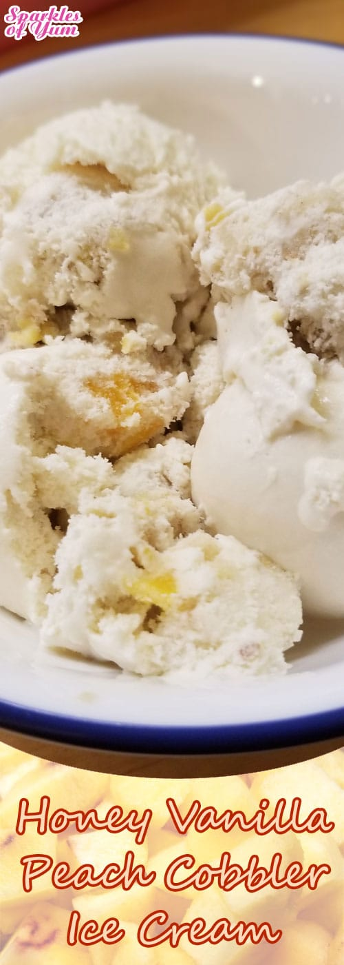 Honey Vanilla Peach Cobbler Ice Cream, where have you been my whole life? Don't make this alone...you will eat all of it yourself!