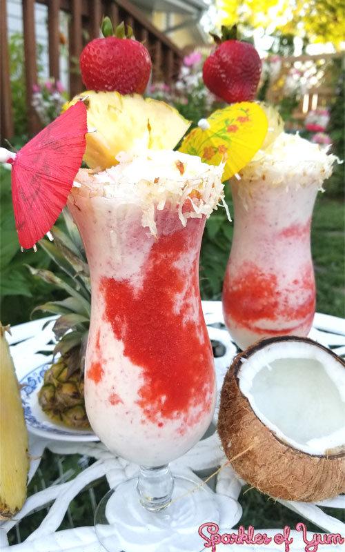 Step up your pina colada game with this Lava Colada Boozy Shake recipe. A twist on the famous Lava Flow from Hawaii, transformed into a milkshake!