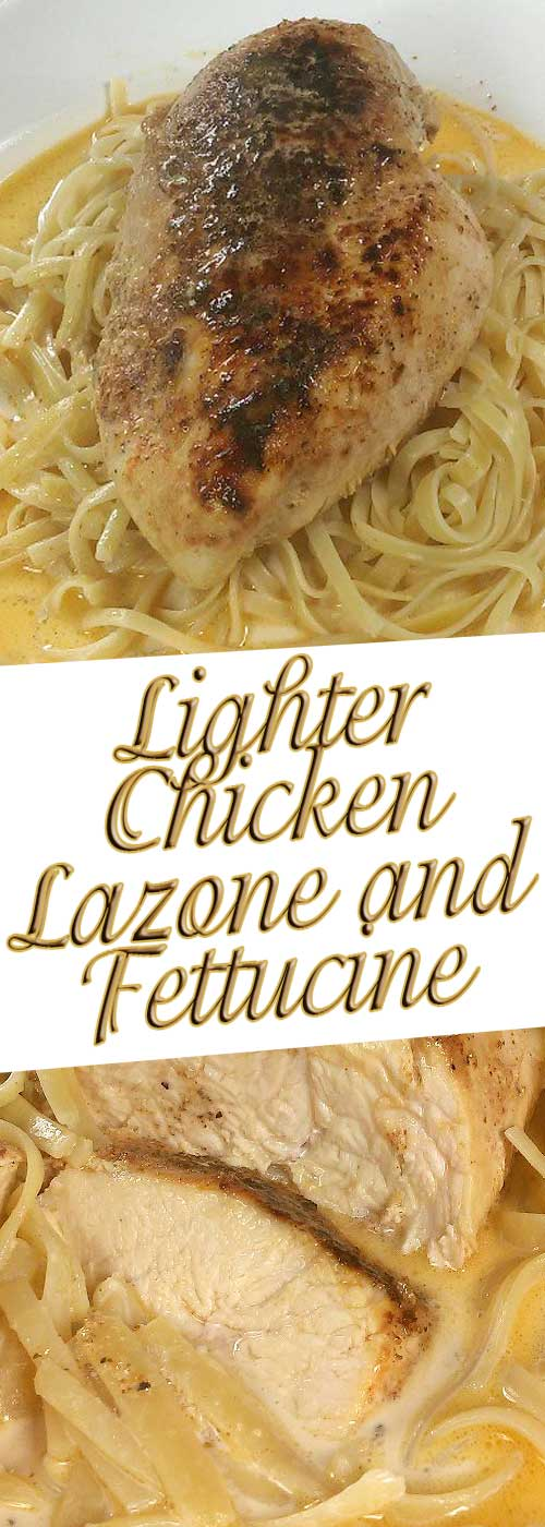 Such simple ingredients everyone has on hand, adds up to such great flavor. No one has to know how simple and quick this Lighter Chicken Lazone and Linguine is. #chicken #pasta #ldinnerideas