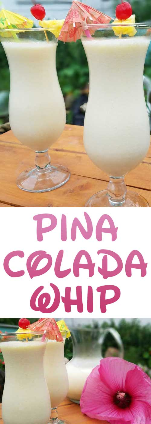 Beat the heat with this Pina Colada Whip. The ultimate frozen tropical cocktail. Coconut, pineapple, and rum create a tasty drink that is great all summer long. #summer #pinacolada #frozendrink #frozencocktail #coconut #pineapple #rum