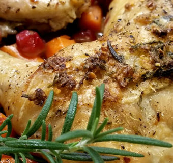 Rosemary Chicken Over Cranberries & Carrots