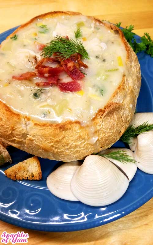 This is one wicked good New England Clam Chowder. It is bursting with comfort and flavor! In honor of National Clam Chowder Day on Feb. 25, this delicious dish and clam-tastic recipe will make you shout loudah for chowdah!