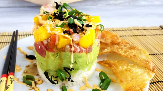 This Spicy Tuna Sushi Stack with Wonton Crisps is so good and not very complicated to make. The perfect solution for when you have a craving for sushi and just can't fork out the big bucks.