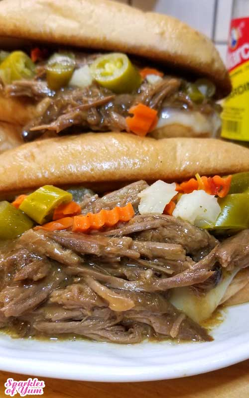 Slathered with luscious garlic butter, ooey-gooey provolone cheese, a bit of tang from the giardiniera, and the rich flavors of the roast beef. THIS Italian Roast Beef Sandwich is one of my all time favorite sandwiches!
