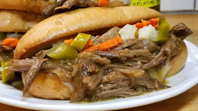 Slathered with luscious garlic butter, ooey-gooey provolone cheese, a bit of tang from the giardiniera, and the rich flavors of the roast beef. THIS is one of my all time favorite sandwiches!