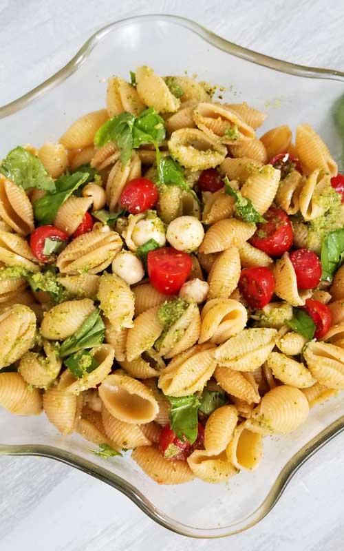 Pesto Caprese Pasta Salad