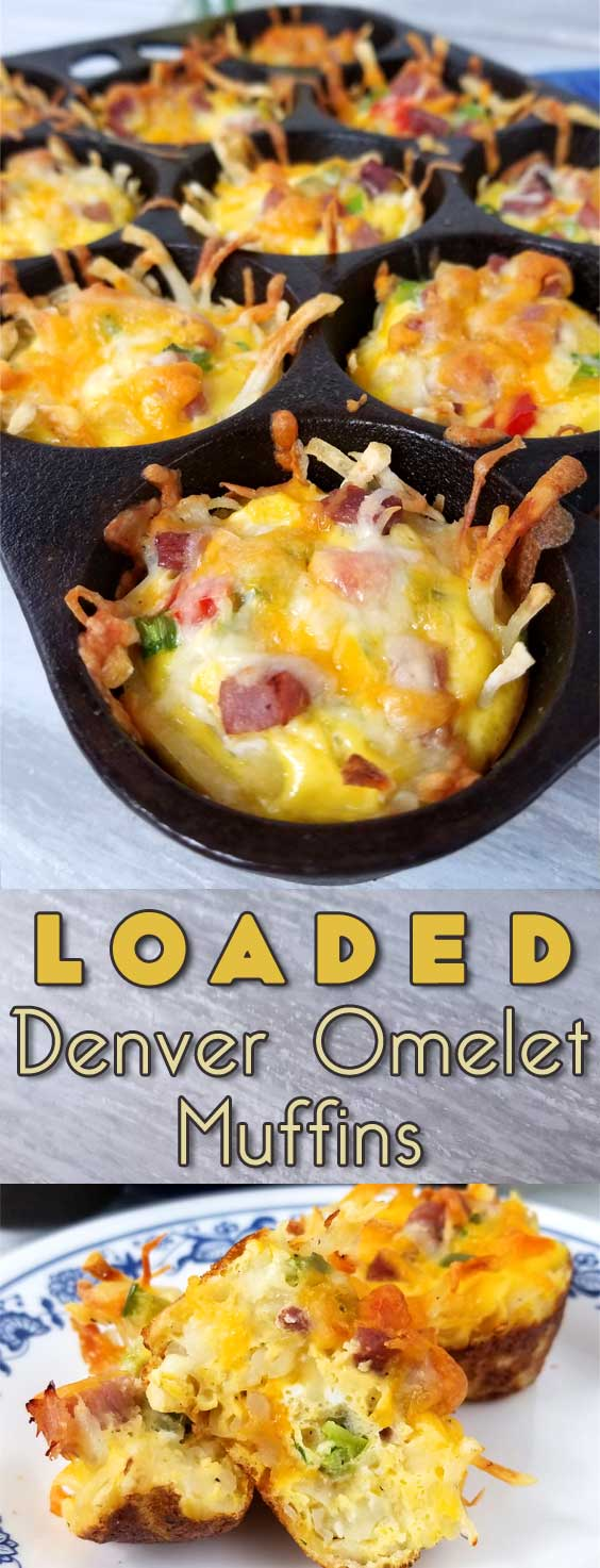 Rise and shine with a plan. A cheesy, crispy Loaded Denver Omelet Muffin plan that is! I'm loving brunch at home, no waiting in line for a table, just takes a little planning ahead. #breakfast #brunch #easterbrunch