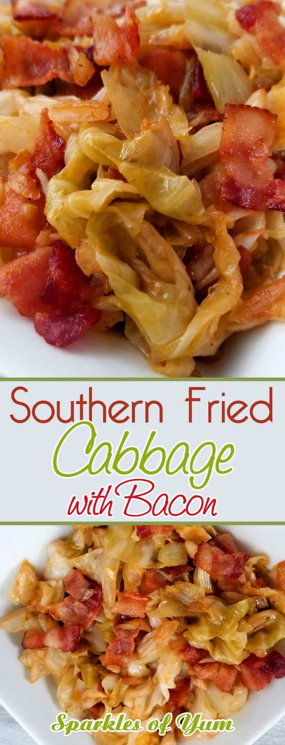 If your a lover of bacon and you like cabbage, you will fall in love with this quick and easy Southern Fried Cabbage! The flavors you get are a natural sweetness that comes together with this simple dish. You'll wish you tried it sooner. #sidedish #southernrecipe #friedcabbage #bacon
