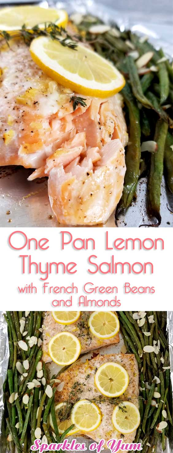 Not only was this One Pan Lemon Thyme Salmon with French Green Beans and Almonds beyond easy, it was divine! It tasted even better than I expected; bursting with flavor; and with minimal clean-up. #healthyeating #seafood #salmon #glutenfree #lowcarb #keto