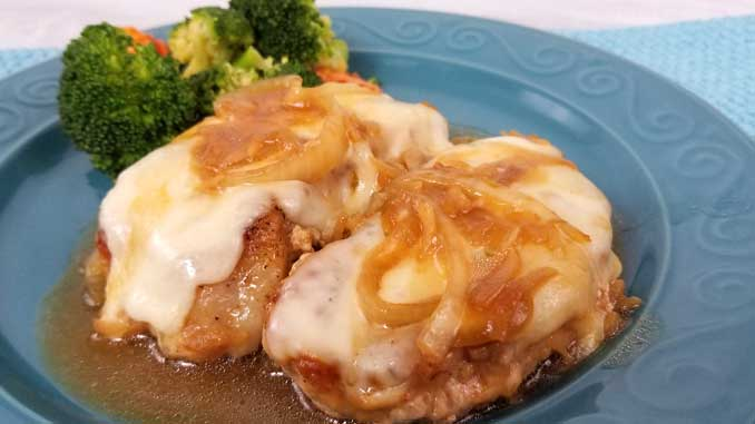 This recipe for French Onion Pork Chops is a keeper! Served right from the skillet in under 30 minutes, it doesn't get any easier. The chops come out tender and juicy, smothered in onion gravy and cheesy goodness! And the clean-up is a breeze too!