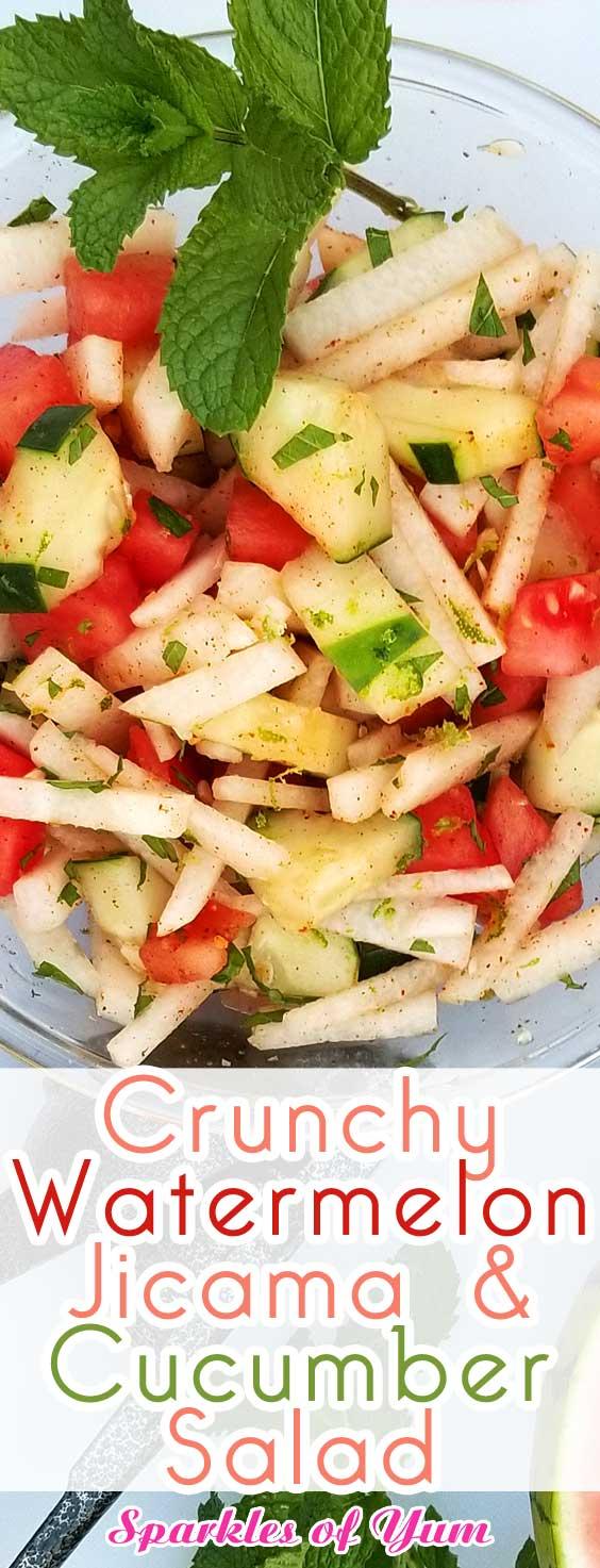 Crunchy Watermelon Jicama & Cucumber Salad