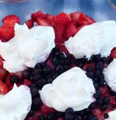 Red White and Blue Berry Trifle