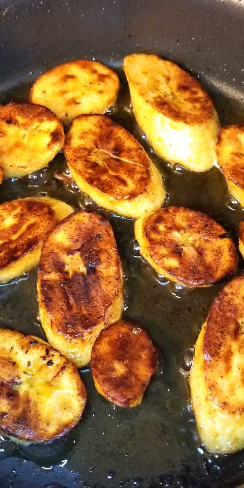 TheseSweet Fried Plantains were crispy on the outside, soft inside, and the flavor was perfect! The trick to good plantains is to let them get all the way ripe; which is a lot of black on the skin, that's when they are the sweetest.