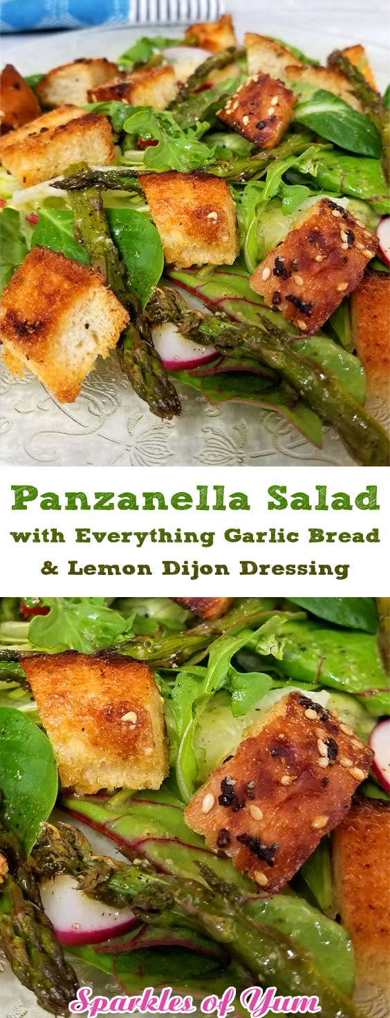 Panzanella Salad with Everything Garlic Bread & Lemon Dijon Dressing