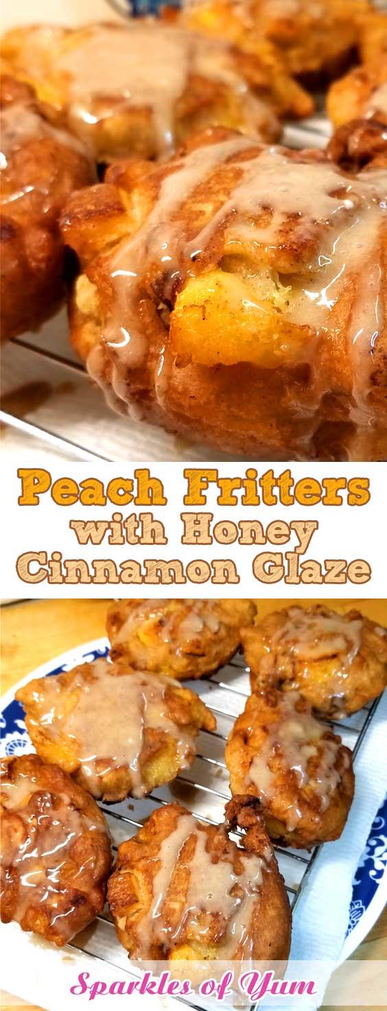 Peach Fritters with Honey Cinnamon Glaze