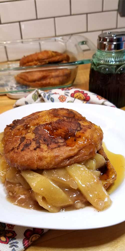 Decadently delicious Apple Pie Croissant French Toast, is pure buttery goodness filled with tender fried cinnamon apples, perfect for a fall brunch or special holiday breakfast.