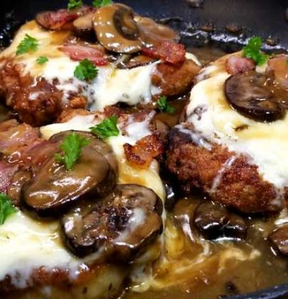 Fontina Pork Chops with Marsala Mushroom Gravy