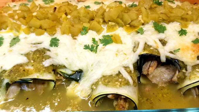 Salsa Verde Chicken Zucchini Enchiladasare a low carb, healthy dinner that tastes delicious. Using leftover rotisserie chicken, this recipe comes together in about 40 minutes.