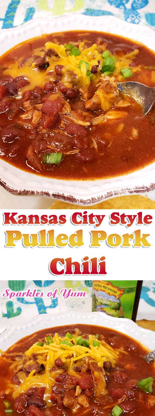 Sweet meets heat in this hearty Kansas City Style Pulled Pork Chili. Be sure to grab a cold brewsky because one's going in the pot to add to the complex flavors of this Midwestern favorite! #chili #pork #KansasCity #comfortfood #midwest