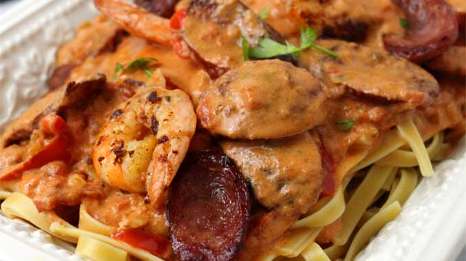 Creamy Cajun Shrimp and Sausage Pasta, is a celebration of flavors in one outstanding dish. I totally thought it tasted like I had ordered from a restaurant. This sauce is absolute Cajun heaven!