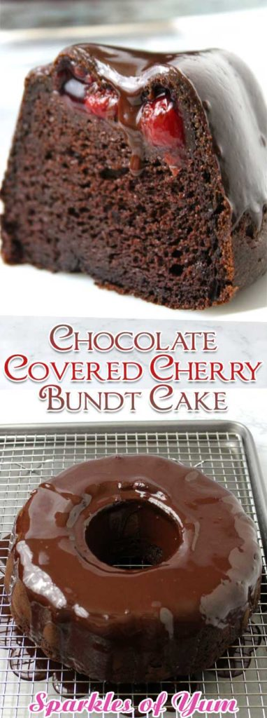 So easy and oh so decadent. You won't even believe how very moist, rich and delicious this Chocolate Covered Cherry Bundt Cake is!