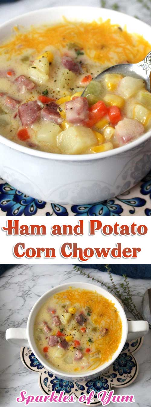 I love this cozy rich and creamy Ham and Potato Corn Chowder, it's so hearty and full of flavor. It just warms you up and puts a smile on your face. #soup #chowder #ham #corn #potatoes
