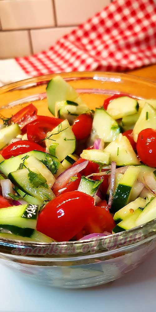 So simple, fresh, and healthy. This Cucumber Tomato Salad is the perfect side dish for anything summer!