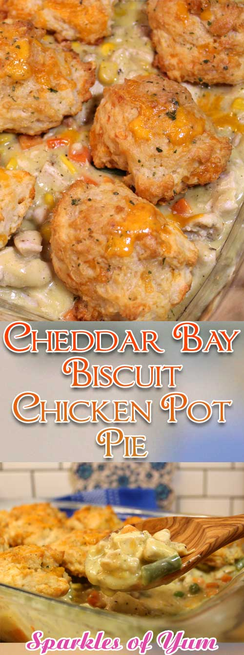 True comfort food at it's best, thisCheddar Bay Biscuit Chicken Pot Pie isperfect for these chilly fall and winter nights. #chicken #potpie #biscuits #dinnerideas #fall #winter #comfortfood