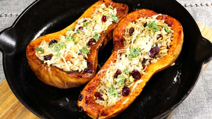 This Stuffed Butternut Squash with Chicken and Rice is a great healthy fall dinner. Delicious and easy to prepare with all the savory flavors of fall.