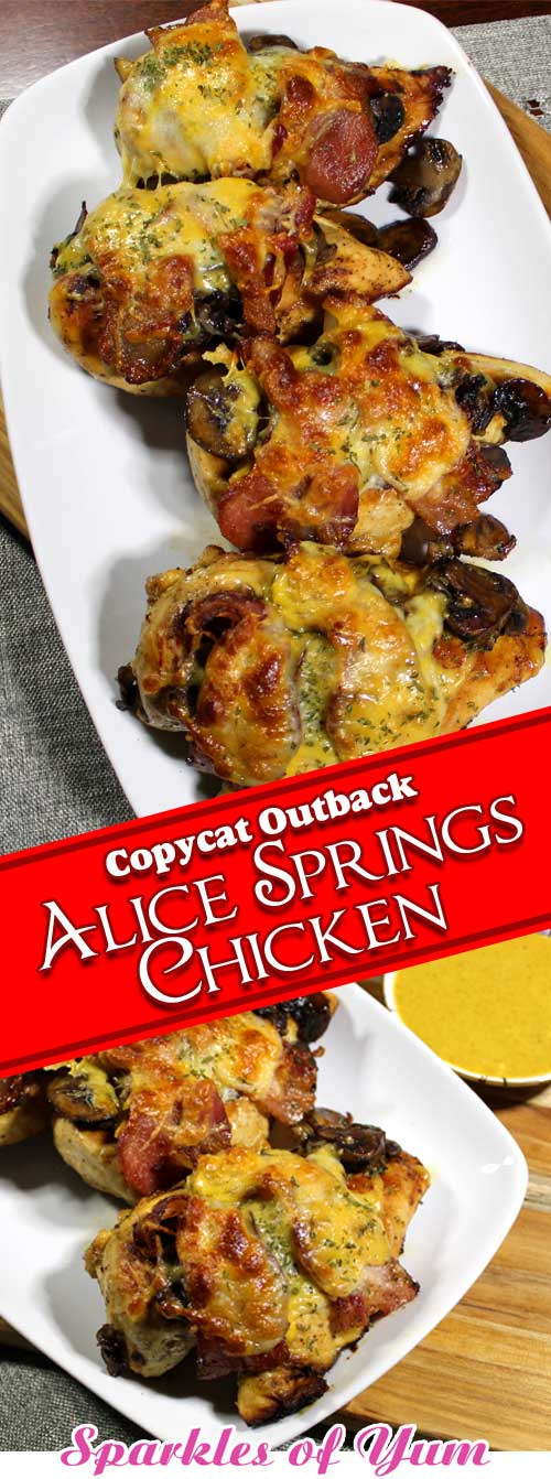 Serious comfort food from your own kitchen. This Copycat Outback Alice Springs Chicken is juicy and mouth watering-ly delicious! #chicken #dinnerideas #copycat #outback