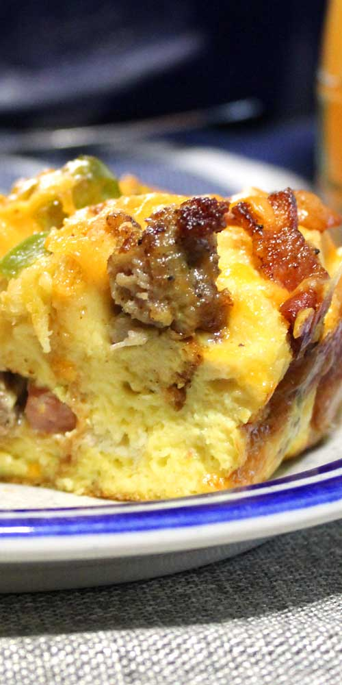 Bacon, ham, and sausage come together to make this Three Little Pigs Strata. A simple, delicious, and comforting breakfast everyone is sure to love!